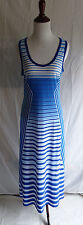 Ellen Tracy 6 Blue & White Stripe Jersey Knit Stretch Beach Maxi Summer Dress