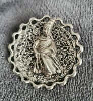 Vintage ancient priest ??? Silver tone Pin Brooch