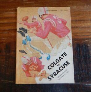 1961 SYRACUSE VS COLGATE COLLEGE FOOTBALL PROGRAM ERNIE DAVIS + HIGH GRADE NICE