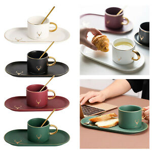 Nordic Coffee Cup Spoon and Tray Ceramic Tea Cup with Spoon,Breakfast Cup