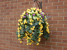 Hanging Baskets With Artificial Yellow Morning Glory - G12