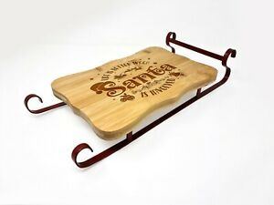 Engraved Wooden Bamboo Father Christmas Sleigh Board Gift