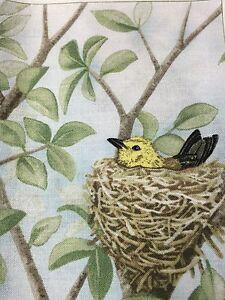 "Fabric Bird Quilt Square 4.75"" x 6"" Cotton Yellow Bird Nest ELIZABETH Qty 1"