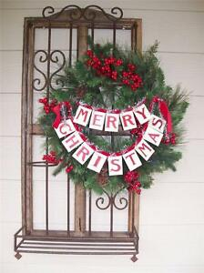 """NWT 14"""" Double MERRY CHRISTMAS BANNER Garland Ribbon Cardboard Tinsel Decoration"""