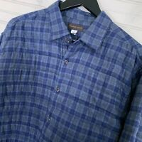 Thomas Dean Padded Plaid Shirt Jacket Cotton Lined Men's Size L
