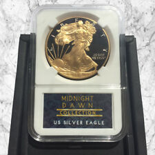 1 OZ (ca. 28.35 g) Stati Uniti American Silver Eagle Coin - 24 KT Oro & Nero Midnight Dawn Collection