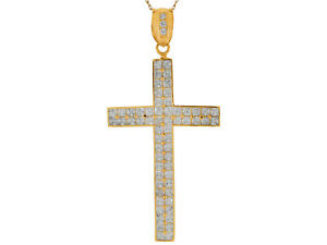 10k or 14k Yellow Gold Two Row White CZ Traditional Huge Latin Cross Pendant