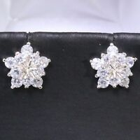1 Ct Flower Cubic Zirconia Earring Stud Women Jewelry 14K White Gold Plated