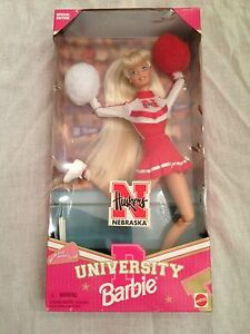 Nebraska Huskers University Barbie Cheerleader Doll by Mattel new in Box 1996