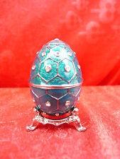 noble Bijoux-oeuf__boîte avec couvercle__métal avec vrai Pierre de Swarovski__
