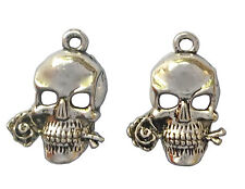 2 x ANTIQUE SILVER COLOUR SKULL & ROSE CHARM Size: 20mm x16mm STEAMPUNK VINTAGE