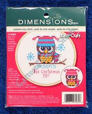 Cross Stitch Kit Baby's First Christmas Boy Girl Learn A Craft With Hoop Frame