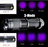 Portable Mini UV Ultra LED Zoom Flashlight Violet Purple Blacklight Torch Lamp