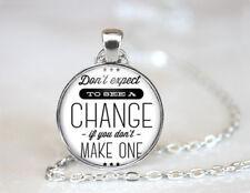 Make a Change Tibetan silver Dome Glass Art Chain Pendant Necklace