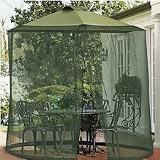 Mosquito Net Canopy Patio Table Umbrella Outdoor Yard Garden Military green, 9ft
