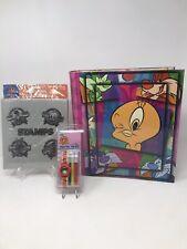 Vintage 1999 Looney Tunes Tweety Bird 3 Ring Binder, Digital Watch & Stamp Album
