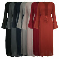Womens Ladies Fril Arm Pleated Long Maxi Dress Floral Lace Pattern Dubai Abaya