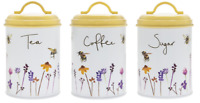 Retro Style Busy Bee Enamel Metal Tea Coffee Sugar Canisters Set 3 Storage Jars