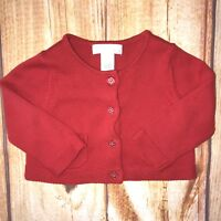 Janie and Jack Baby Girl Red Polka Dot Cardigan Button Sweater 6-12 Months