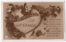 Vintage E A Schwerdtfeger Valentine Postcard 'The Angel of My Dreams' - no stamp