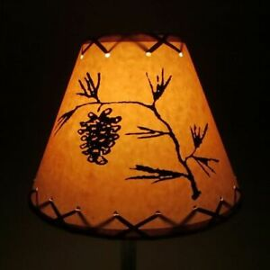 """PINE CONE Table Light Cabin Cottage LAMP SHADE Clip-On Bulb Style 9"""" Laced Cone"""