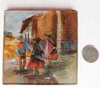 """Peruvian traditional picture Reverse painted glass Cajamarquino folk art Peru 4"""""""