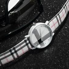 Fashion Plaid Leatheroid Watch Women Men's Sport Casual Quartz Wristwatch GA