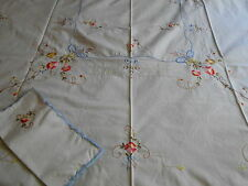 "Hand Made Linen Embroidered 50"" x 68"" Tablecloth & 6 Napkins New w Tag"