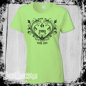 40th Birthday Women's T-shirt Made in 1980 Flower Heart  Anniversary gift