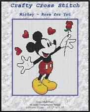 """Counted Cross Stitch MICKEY MOUSE """"A Rose for You"""" - COMPLETE KIT #10-13 KIT"""