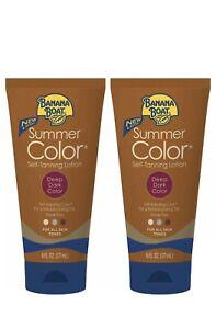 2 Pack Banana Boat Summer Color Self-Tanning Lotion, Deep Dark Color 6oz Each