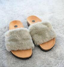 New SUNE ISLAND Premium Womens Fur Grey & Brown Slides Sliders Scuffs UK4 Small
