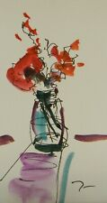 """JOSE TRUJILLO ORIGINAL Watercolor Painting SIGNED Small 3x6"""" Red Floral Bouquet"""