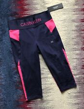 Calvin Klein Performance Knee Length Sport Activ Leggings Navy Pink Size M BNWT