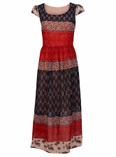 Plus Size Crew Neck Floral Maxi Dresses for Women