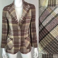 Vintage Jack Winter Women's M Wool Windowpane Plaid Tweed Bespoke Blazer Jacket