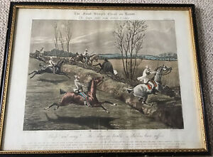 Framed Hand Coloured Aquatint H Alken/J Harris First Steeple Chase On Record II