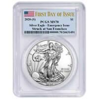 2020 (S) $1 American Silver Eagle PCGS MS70 Emergency Issue FDOI Flag Label