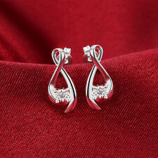 925 sterling silver crystal Earring jewelry Drop wedding stone cute women stud