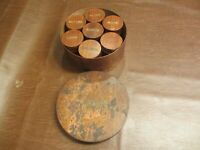 "ANTIQUE 1800s SPICES  SPICE BOX 8""w3.5t WOOD CANISTER & 7 SMALLER CANISTER BOXES"