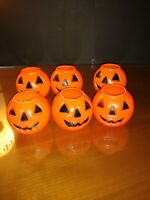 Vintage Lot of 6 Miniature Blow Mold Halloween Jack-O-Lantern Candy Pail