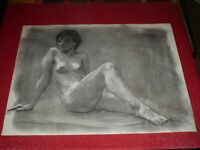 ANDRÉ LANDAUD 24-13 NU FEMALE Grd Drawing Charcoal-pastel paper white 65X50