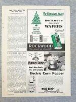 1949 Magazine Advertisement Page Rockwood Chocolate Mint Wafers Corn Popper Ad