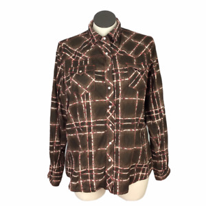 Cruel Girl Womens XXL Plaid Snap Up Western Shirt Top Fitted Cotton LS Brown