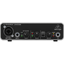 Behringer U-PHORIA UMC22 2x2 USB Audio Interface UMC 22 UMC-22 AUTHORIZED DEALER
