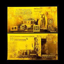 JORDAN BANKNOTE 10 DINARS 2002-2012 REPLICA GOLD 24K