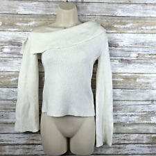 Theory Women Sweater Sz Petite One Shoulder Ribbed Pullover Viscose Wool Blend