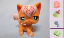 Littlest Pet Shop Orange White Angora Cat Pink Swirls #511+1 FREE Access Authen