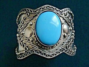 Vintage Indian Silver Metal  Cuff Bracelet Turquoise Glass Jewellery Bracelet