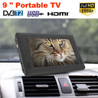 "9"" HD Portable Mini Digital TV Player DVB-T/T2 Analog Car Television 16:9 TV US"